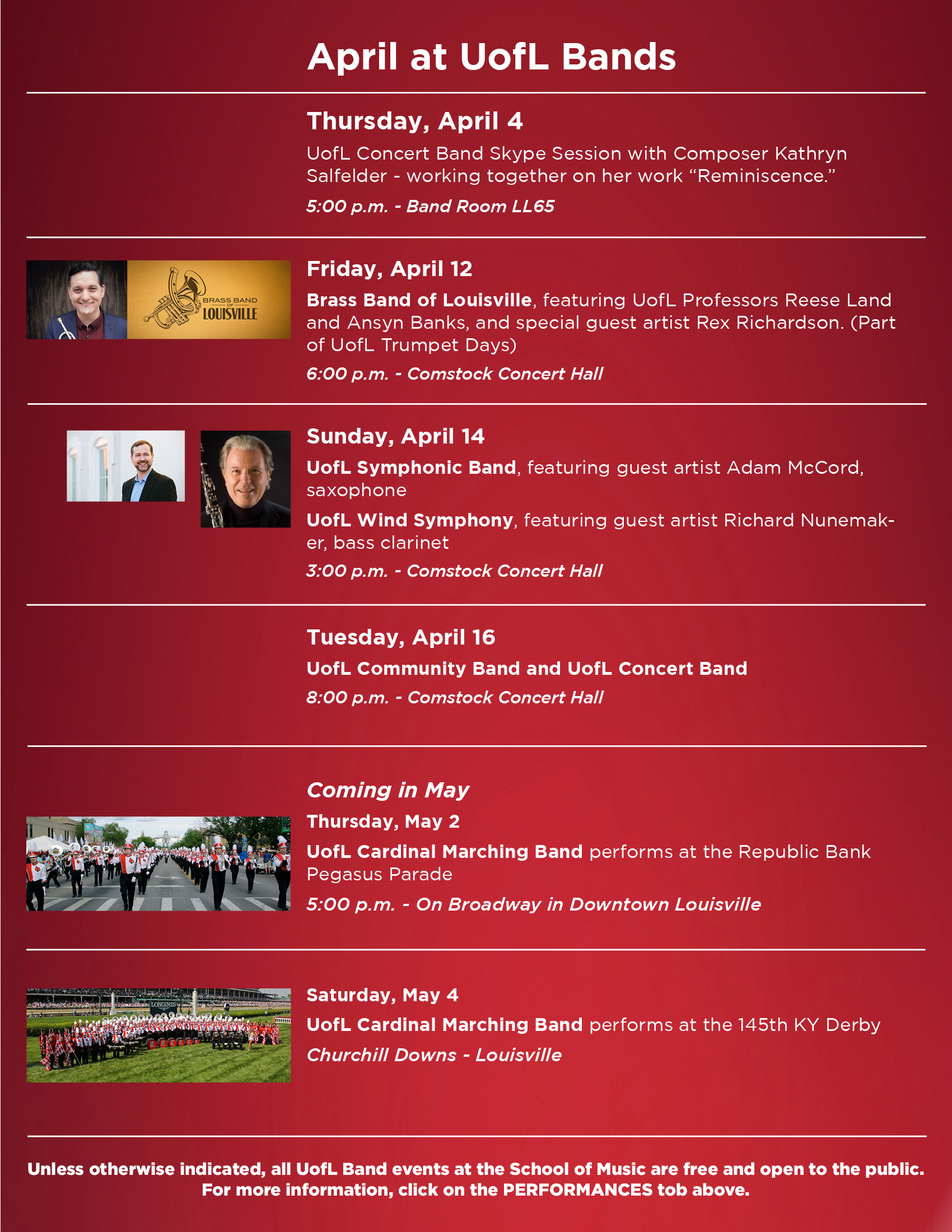 Uofl Calendar 2019 April at UofL Bands | UofL Bands